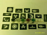 Tribal themed glitter tattoo set including 30 stencils + glitter + glue